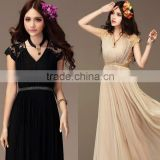 Women Bridesmaid Ladies chiffon maxi beach long dress Lace Dress                                                                         Quality Choice