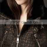 Animal Jacquard Cropped Bomber Jacket with Fur Collar for lady