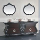 Three basin two mirror European style antique bathroom cabinet