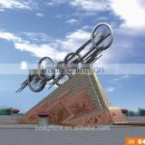 2016 New Stainless Steel Modern Abstract Art wheel Sculpture For Garden Landscape Sculpture