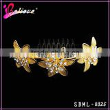 Hot sale indian flower hair accessories,gold plated hair accessories hair comb with diamond