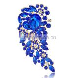 Fashionable gold plated blue crystal wedding brooch bouquet