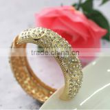 Bangle, Fashion Women Gold Alloy Resin Beads Hinge Crystal Bangle, Bangle Bracelet Jewelry Wholesale PT1564