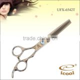 UFX-6542T Suzhou ICOOL Wholesale hair thinning scissors Sus440c stainless steel best barber scissors