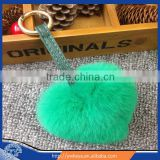 2015 rex rabbit fur heart shape keychain,Fashion fur hanger for bags
