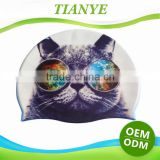 Fashionable Quality Adult / Kid sizes customized logo printed waterproof silicone swimming cap 100%
