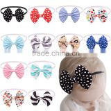 Hot-sales kids large fabric bow Headband girl cotton floral bow Headband Toddler baby bow Headband wh-1821