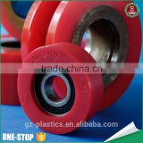 OEM and ODM injection pu wheel small size multi color polyurethane coating plastic PU roller pulley wheels