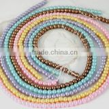 "5 Strands Beautiful Mix Color Glass Pearl Smooth 4.5mm Rondelle Beads,Acrylic Pearl beads,Pearlized Beads,16"" Long"