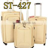 Fashion designer new set white color push button four wheels trolley suitcase for selling