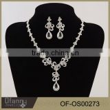 Korean diamond bridal jewelry butterfly flying white stone pendant necklace set piece accessories