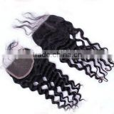 "Hot Selling Wholesale Price18"" #1 Jet Black Tight Curly, Soft & Durable, Peruvian hair full front lace closures"