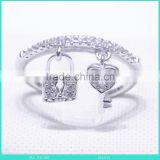 silver ring zircon stone ring heart key and lock ring factory price