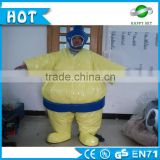 Top Selling 0.45mm PVC inflatable sumo wrestler costume for sale, human adult sized sumo suit for amusement park