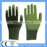 Top Non Slip Grip Latex Palm Coated Bamboo Fiber Safety Gloves / High Performance Security Hand Glove