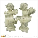 Hot Sale Wholesale Miniature Angel Figurines Musicians Statues with Harp & Accordion