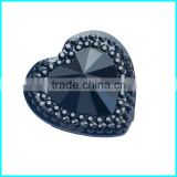 Black And Sliver Heart Rhinestone ,25mm Heart Sew On Rhinestone ,Faltaback Gemstone                                                                         Quality Choice