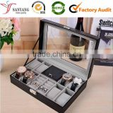 Fashion Black Color Jewelry Display Box Leather Velvet Watch Storage Box With PVC Window