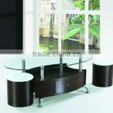 chromed-plated/tempered glass tea table /MDF coffee table A-056
