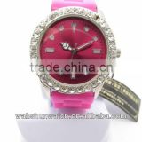 China own brand crystal gifts pink strap lady's fancy diamond watch