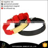 New Design Jewelry Wholesale 316L Stainless Steel Fashion Red and Black Silicone Bio Magnetic Bracelet for Good Health                                                                         Quality Choice