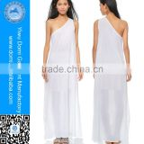 Elegant patetrns free one shoulder beachwear cover up pareo white beach dress
