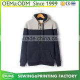 Custom men's new design casual stitching grey and blue 60 cotton 40 polyester tech fleece hoodies