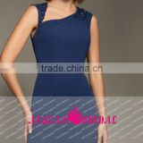 M12 New Style Zip Up A Line Chiffion Dark Blue Sleeveless Formal Evening Gowns Dresses With Belt