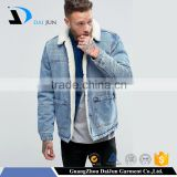 High quality winter new design metal button pockets warm washed fleece cotton plain dyed blank blue men custom denim jean jacket