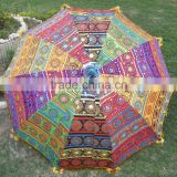 New vintage art Indian handmade cotton outdoor garden umbrella decorative multi color sun garden umbrella for restaurant beach