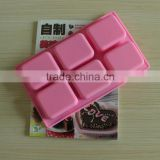 wholesale food grade 7x6x2.5cm nonstick rectangle handmade bar silicone soap mold 6 cavity
