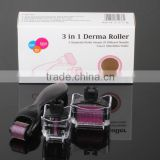 3 in 1 Kit Derma Roller Titanium Micro Needle Roller 180 600 1200 Needles Skin DermaRoller for Body and Face
