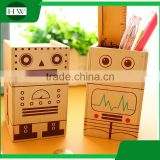 multipurpose wooden cartoon robot piggy bank coin penholder storage pen container case box holder