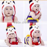 Crochet Baby Hat Stripe Pattern Cartoon Bear Design Thicken Kids Winter Caps