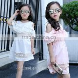 The new model kids latest design summer children frocks designs girl party dress off shoulder dresses for 2-7years old