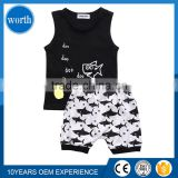 (Comfortable Fabric) Urban Western World Style Summer Baby Pajamas Sets With Cute Shark Pattern Classic Black White