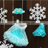 infant baby girls clothing sets baby dress+hair band+ bloomer 3pcs clothing
