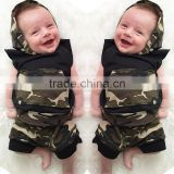 S17474A Summer Cotton Camouflage Sleeveless Hooded T-shirt+Short Pants Baby Clothing Set