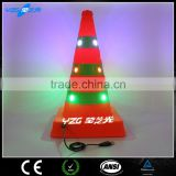 orange High Vis reflective led light traffic cone