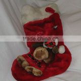 "Red 21"" holiday soft stocking with plush dog for christmas decoration"