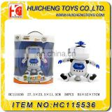 Battery operated dancing and singing remote control robot toy with LED light