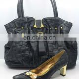 Hot design italy leather ladies designer shoe and bag sets