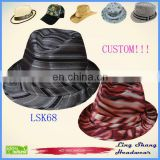 Factory Direct Sale Best Price Striped cheap hat vintage fedora hats cheap fedora hats,LSF68
