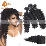Unprocessed Brazilian Hair Weave With Lace Closure Deep Wave A Lot Brazilian Hair Bundle 7A Weave With Hair Closure
