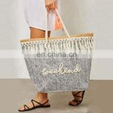 2019 grey waterproof jute beach tote bags with rope cotton handle  beach tote women shopping weekend bag