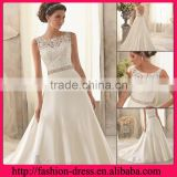 Elegant Bateau Neckline Sleeveless with Lace Applique Beads Natural Waistline Sexy Open Back Wedding Dresses