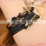 2015 china handmake antique vintage gold cross best friend infinity charm braided leather bracelet