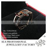 2015 Fashion sterling 925 silver rose gold plated black zircon ring for women