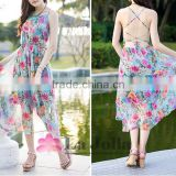 2016 sexy free prom Beach dress summer long female condole belt show thin printed chiffon dresses