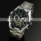 Men Black Dial Stainless Steel Tourbillon Mechanical Watch WM303